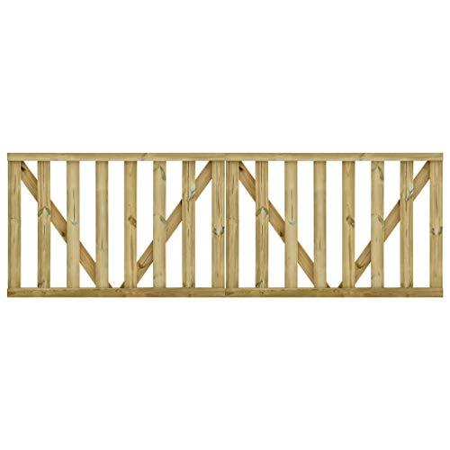 vidaXL 2x Madera de Pino Impregnada Puerta de Valla Listones de Terraza Jardín Cancelas de Cerca Valla Portal Patio Cerca Hogar contra Putrefacción