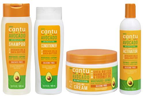 Cantu Avacado Feuchtigkeitscreme Shampoo, Conditioner, Curling Cream & Curl Activator Cream (4er-Set)