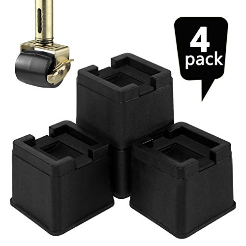 Joyclub 3 Inch Heavy Duty Bed Risers Durable and Stackable Bed Lifts Fits to Casters or Legs of Sofa, Table, Couch and Bed Frame (4 Pack)
