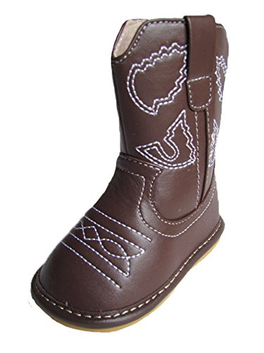 Squeaky Shoes Toddler Dark Brown Leather Cowboy/Cowgirl Boots (3)