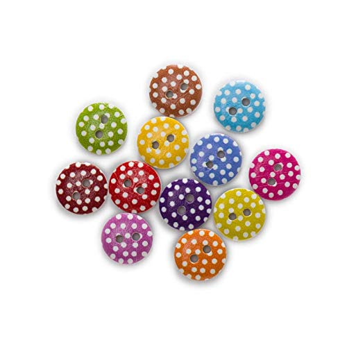 KGDUYH Fashion 50pcs Dot Printing Pastoral style Round Wood buttons Sewing Scrapbook Clothing Gifts Crafts Handwork Home Decoration 11-18mm for Clothing and Decoration (Color : B, Size : 11.5mm)
