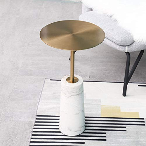 DIAOD New Metal End Table for Living Room Marble Base Round Side Table Small Coffee Table (Color : B)