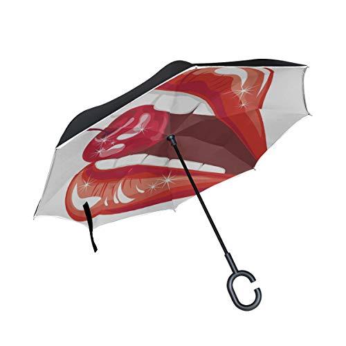 Double Layer Inverted Klappstühle Regenschirm Frau Rote Lippen Mit Kirsche Damen Reverse Umbrella Wendbarer Regenschirm Mit C-Griff Winddichter UV-Schutz Für Regen Mit C-förmigem Griff