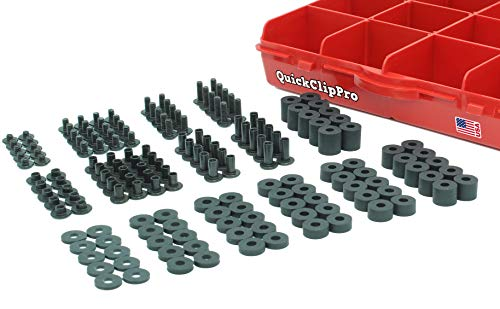 Quick Clip Pro Black Chicago Screw & Post Assortment Kit + Spacers/Washers for Kydex Gun Holsters + Knife Sheaths Made in USA 170pc (Standard Head Phillips 160PC)
