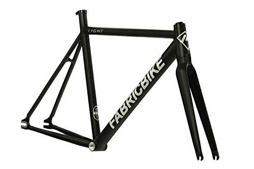 FabricBike Light - Fixed Gear Fahrrad Rahmen, Single Speed Fixie Fahrrad Rahmen, Aluminium Rahmen und Gabel, 4 Farben, 3 Größen, 2.45 kg (Größe M) (Light Matte Black, M-54cm)
