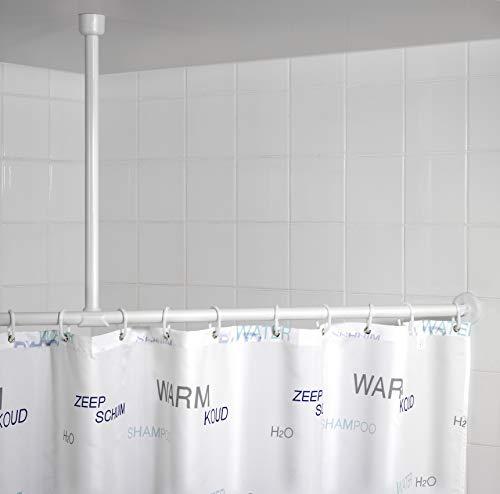 WENKO Deckenstütze für Duschstange Weiß 57 cm - Stützstange für Duschstangen, Aluminium, 57 cm, Weiß