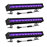 Onforu 3 Pack 24W LED Black Light Bar with Plug and Switch, 5ft Power Cord, IP66 Blacklight for Glow Party, Stage Lighting, Body Paint, Fluorescent Poster, Birthday Wedding Party