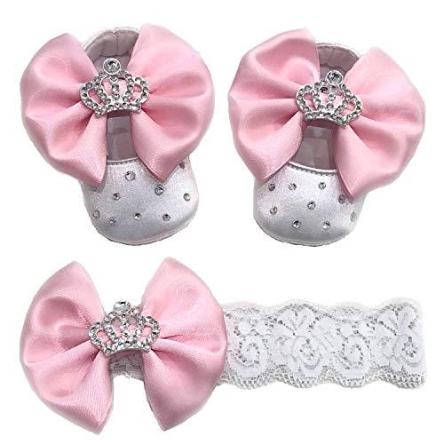 Ballettschuhe für Neugeborene, Schleife mit Strasssteinen und Strass, Babyschuhe, Luxusschuhe, Taufe, Prinzessin, Geburt, 0-3 Monate (10 cm))