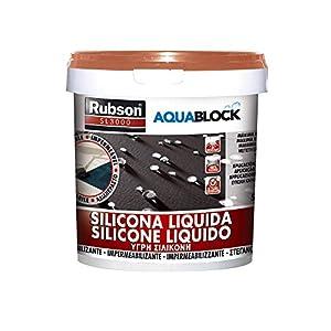 Rubson Aquablock SL3000 Silicona Líquida, impermeabilizante líquido para prevenir y reparar goteras y humedades, silicona elástica con tecnología Silicotec, 1 x 5 kg