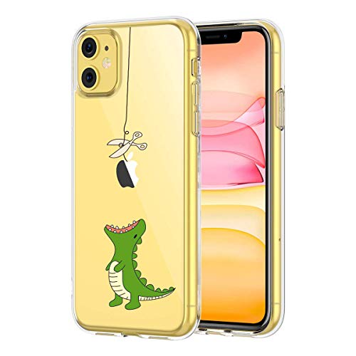 Clear iPhone 11 Case, GoldSwift Clear Soft Flexible Case for iPhone 11 6.1-Inch 2019 (Hungry Dinosaur)