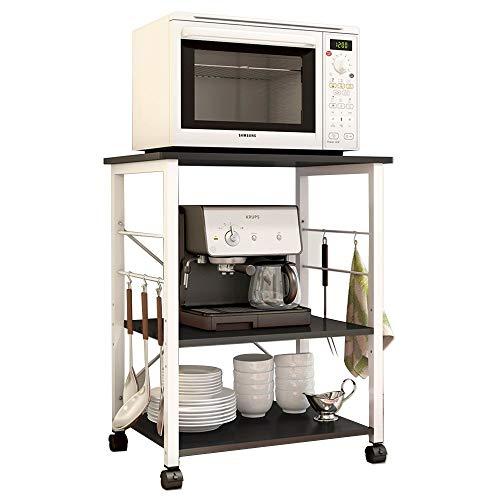 Küchenwagen Dolly 3 Böden Mikrowellen-Halter Küchenregal Bäckerregal Standregal Metall Nische Regal Lagerwagen mit Rollen für Küche Bad Büro Weiß Ahorn W4-MP-N Schwarz