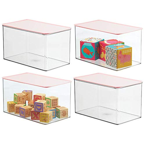 mDesign Stackable Closet Plastic Storage Box with Lid - Container for Organizing ChildsKids Toys Action Figures Crayons Markers Building Blocks Puzzles Crafts 4 Pack - ClearLight Pink