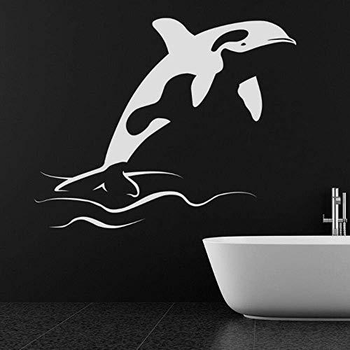 Pegatinas De Pared Calcomanías Tapiz Ballena Mar Criaturas Acuáticas Océano Animal Dormitorio De Niños Habitación De Bebé Baño Decoración Para El Hogar Pegatinas De Ventana 57X70Cm