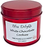 Vela perfumada de galletas de chocolate blanco, respetuosa con el medio ambiente, sin crueldad + vela vegana, 200 ml hecha a mano en el Reino Unido, vela de soja de lujo hecha a mano