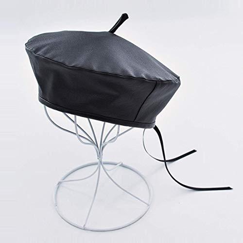 WXDP Sombrero resistente al viento, la moda puede ajustar el cortical Bud para mujer en el período y otoño, gorra de boina de piel sintética suave (color: cola).