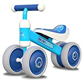 Baby Balance Bikes 10-24 Month Children Walker   Toys for 1 Year Old Boys Girls   No Pedal Infant 4 Wheels Toddler Bicycle   Best First Birthday New Year Holiday (Dolphin)