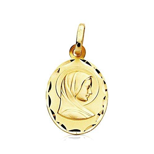 Médaille pendentif or 9k ovale Vierge Marie française 17mm. [AB3244GR] - personnalisable - ENREGISTREMENT inclus dans le prix