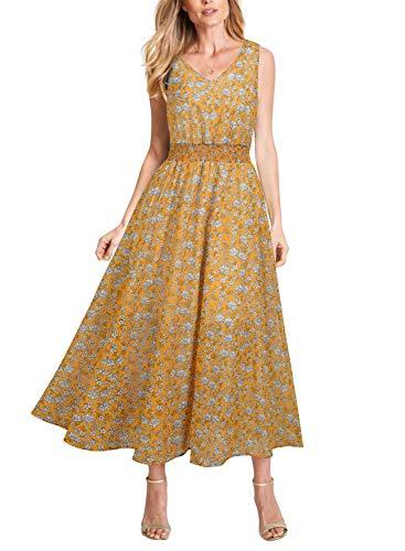 REPHYLLIS Women's Summer Chiffon V Neck Vintage Print Floral Maxi Beach Long Dress Yellow Floral L