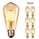 OnlineTek Bombilla LED Edison, estilo vintage, color mbar, 2700 K, 4 W (equivalente a 40 W), filamento LED, lmpara decorativa E27-6 unidades