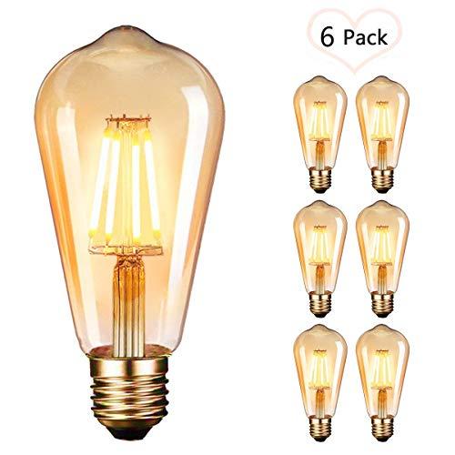 OnlineTek Bombilla LED Edison, estilo vintage, color ámbar, 2700 K, 4 W (equivalente a 40 W), filamento LED, lámpara decorativa E27-6 unidades