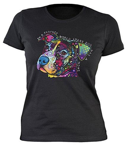 Damen T-Shirt, Girlieshirt mit farbigen Hundekopf