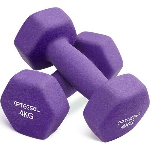 arteesol Manubri in Neoprene Set Peso 1kg/2kg/3kg/4kg/5kg/8kg/10kg in Coppia per Uomini Donne Bambini Adulti Manubri per Sollevamento Pesi a Mano Libera Impostati per Palestra di Casa (4kg*2-Purple)