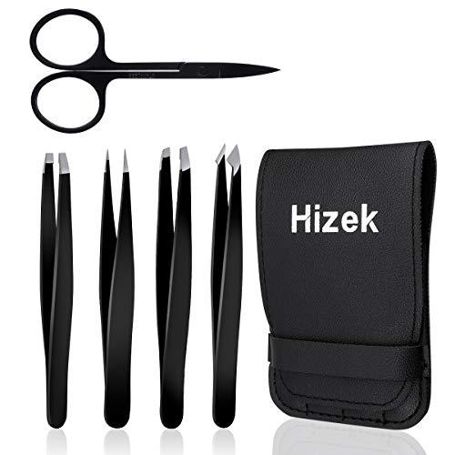 Hizek - Juego de 5 pinzas para cejas, pinzas y tijeras, para mujeres profesionales para cejas, cabello encarnado, pestañas postizas, nariz, exfoliante