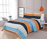 Sapphire Home 5 Piece Twin Size Comforter Set Bed in Bag with Shams, Sheet Set, Blue Orange Gray Stripes Print Multicolor Boys Kids Girls Teens Bedding w/Sheets, (5pc, Navy/Orange)