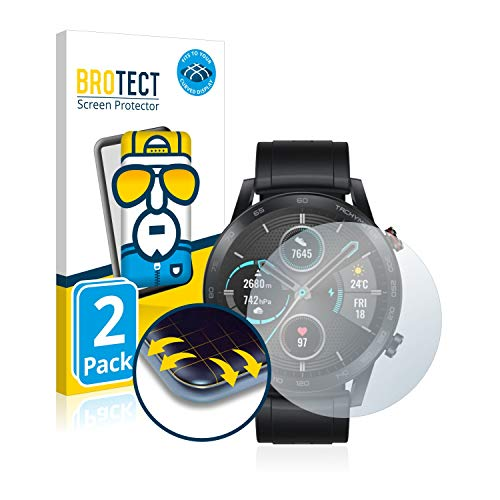 BROTECT Protector Pantalla Completa Compatible con Honor Watch Magic 2 (46 mm) (2 Unidades) 3D Curvo