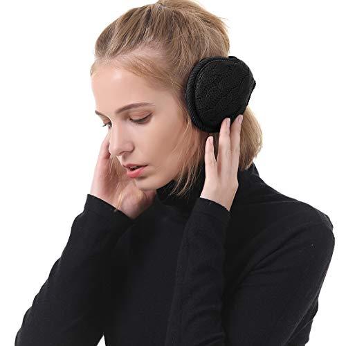 Durio Ohrenwärmer Ohrenschützer Damen Einheitsgröße Warme Earbands mit Futter Ohrenschutz Winter Accessoire für Frauen Schwarz B