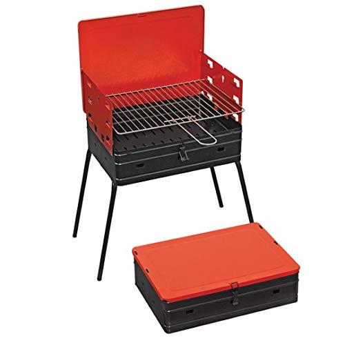 Barbacoa rectangular richiudubile a maletín, parrilla de acero cromado y patas de goma.