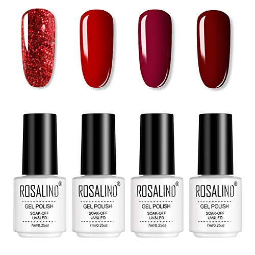 ROSALIND 4pcs Esmaltes Semipermanentes de Uñas en Gel UV LED, Kit de Esmaltes de Uñas de Brillo Arcoiris 7ml (01)