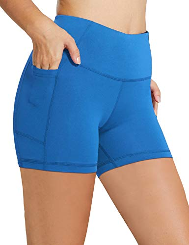 BALEAF Women's 5' High Waist Workout Yoga Running Compression Exercise Volleyball Shorts Side Pockets Lapis Blue S