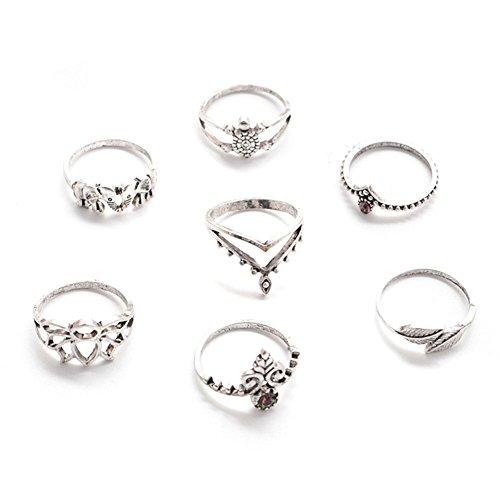 Msyou - Set di 7 anelli in lega, stile vintage punk, per donne e ragazze
