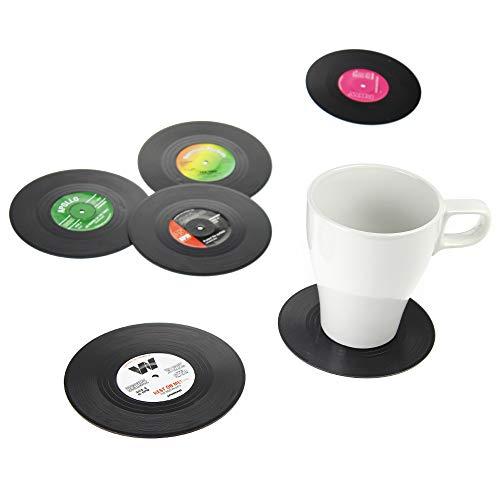 Monsterzeug Schallplatten als Untersetzer, Vinyl Untersetzer im 6er Set, Retro LP Schallplatten Look, Tischdeko, Anti Rutsch Tischset, Coasters