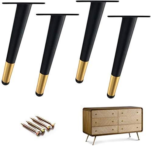 XZGDEN Superior 4 PCS Muebles Piernas Plancha, Fuerte Capacidad de Transporte, Conexa, Negro (12 cm / 4.7in) (Size : 35cm/13.8in)