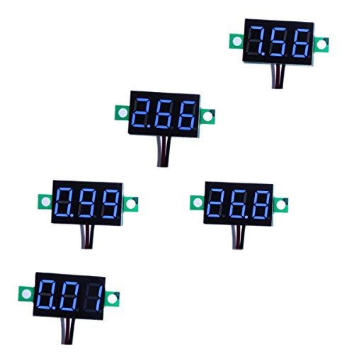 bayite Pack of 5 ThreeWire Calibratable DC 0~30V Blue Digital Mini Voltmeter Gauge Tester Mount Car Motorcycle Battery Monitor Volt Voltage Meter 036quot Blue LED Display Panel