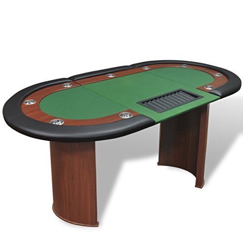 Festnight Pokertisch Spieltisch Casino Poker Tisch bis zu 10 Spieler mit Dealerbereich und Chipablage 208x107x81cm Grün