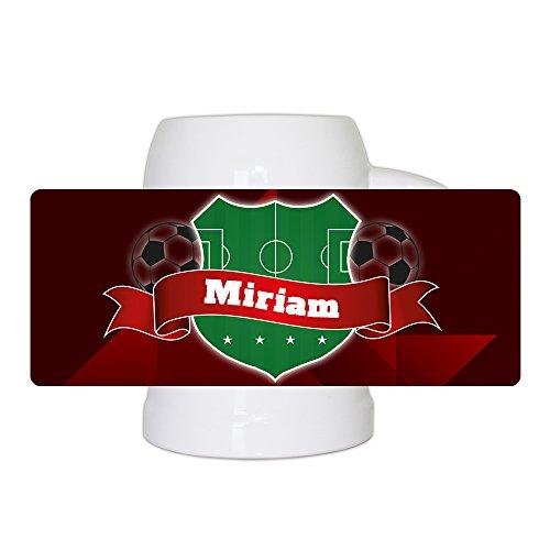 Fußball-Bierkrug mit Namen Miriam und schönem Fußball-Wappen - Fan-Bierkrug personalisiert - Deutschland-Krug - Bierhumpen