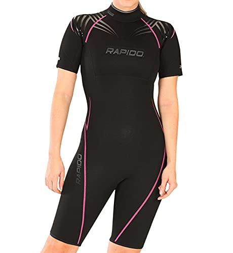 Phantom Aquatics Traje de Neopreno Corto para Mujer, Negro/Rosa, Talla 6