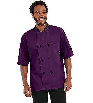 Men's Lightweight Short Sleeve Chef Coat (S-5X, 3 Colors) (X-Large, Eggplant/Black)