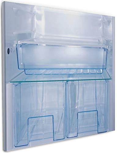 Wallario Leinwandbild Leerer Kühlschrank - offene Leere ohne Inhalt - 50 x 50 cm in Premium-Qualität: Brillante lichtechte Farben, hochauflösend, verzugsfrei