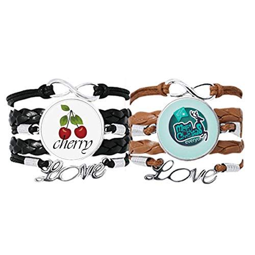 Bestchong Merry mas Blue Reindeer Illustration Bracelet Hand Strap Leather Rope Cherry Love Wristband Double Set