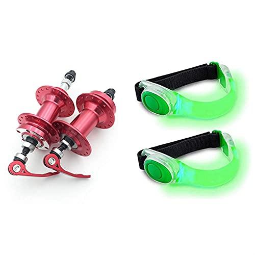 XIEJING Biciclette Spiedini,Bicicletta Mozzo RuotaSpiedini 1 Paia 100 / 135mm Mountain Bike hub Freno a Disco Rossa con Bracciale 2pcs, Bracciale in Cambio Riflettente (Color : Red Green)