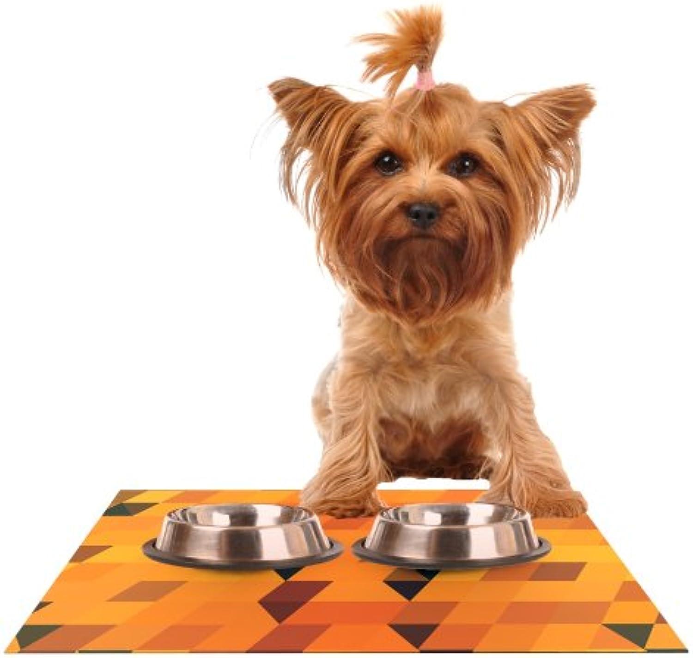 Kess InHouse Danny Ivan gold Pattern  Feeding Mat for Pet Bowl, 18 by 13Inch
