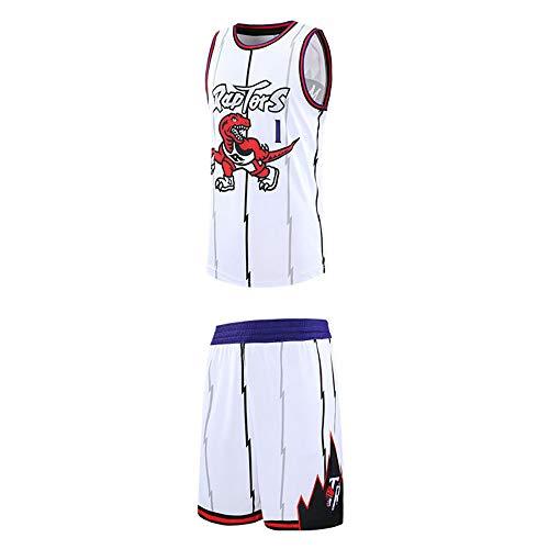 Ordioy Camisetas De Baloncesto Clásicas para Hombre, NBA Toronto Raptors # 1 Tracy McGrady Fans Uniformes De Entrenamiento, Sudadera De Malla Transpirable Chaleco + Shorts Set Mejor Regalo,Blanco,5XL