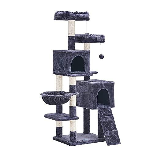 Hey-brother Cat Tree, 147 cm cat tower, Multi-Leve cat condo, Gray EMPJ013G