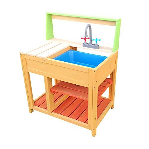 Spielküche Outdoor für Kinder aus Holz mit Spülbecken, Matschküche für Garten, Terrasse und Balkon