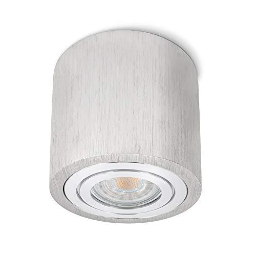 SSC-LUXon® runde Deckenleuchte Alu gebürstet mit IP44 Schutz für Bad & Außen - Aufbauspot Ø 90 inkl. LED GU10 5W neutralweiß
