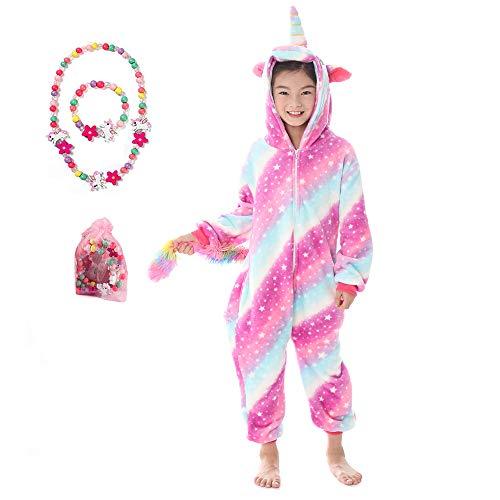LINKE - Tuta per ragazze, in morbido peluche a forma di unicorno, ideale come regalo, con braccialetto e collana colorati Galaxy Unicorn 13-14 Anni